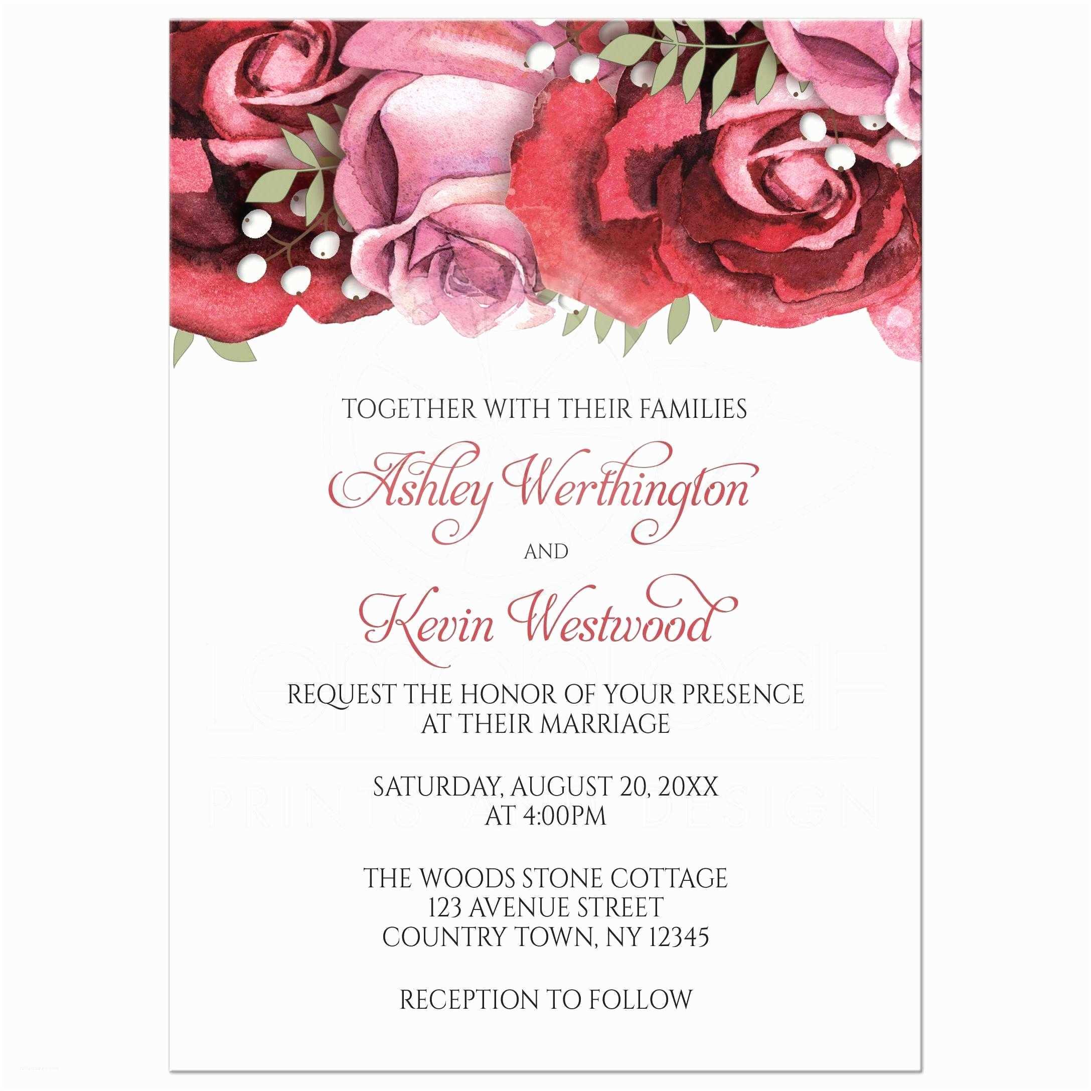 Red Rose Wedding Invitations Wedding Invitations Burgundy Red Pink Rose