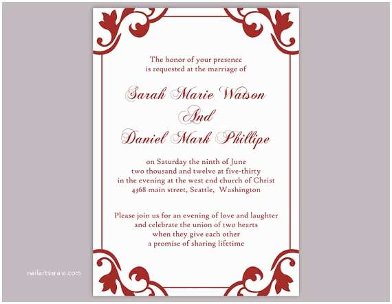 Red Wedding Invitation Templates Diy Wedding Invitation Template Editable Word File Instant