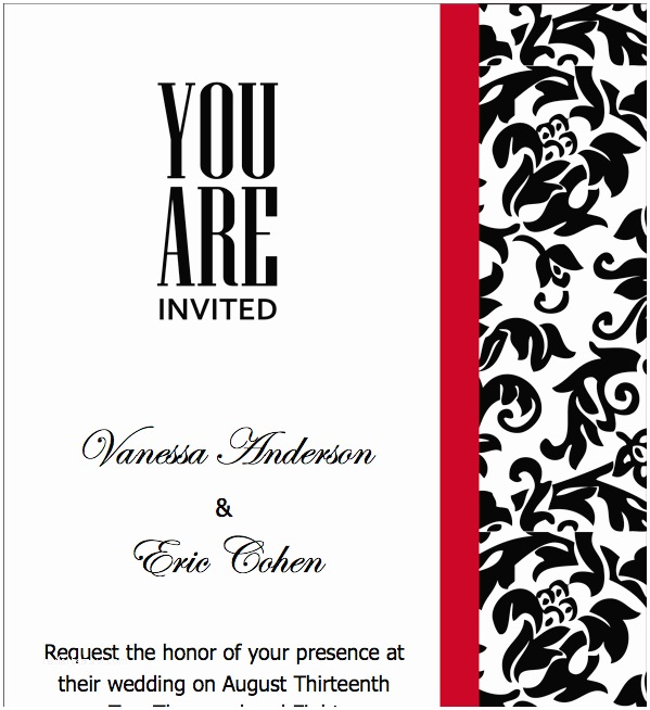 Red Wedding Invitation Templates Elegant Red Wedding Invitation Templates