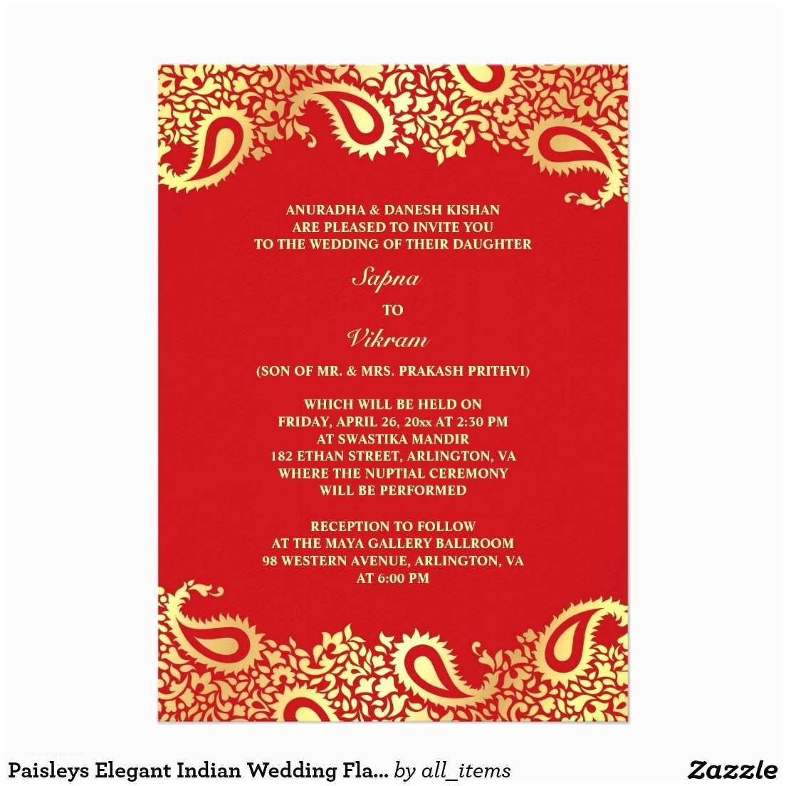 Red Wedding Invitation Templates Indian Wedding Invitations Rectangle Potrait Red Gold