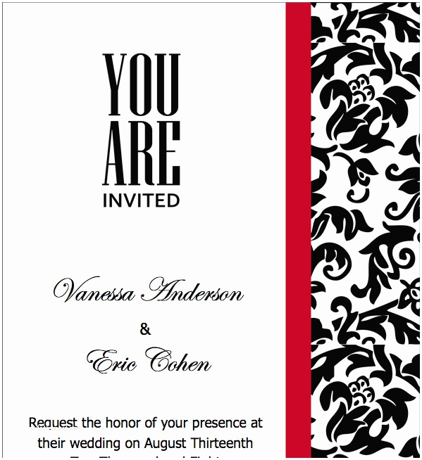 Red Wedding Invitation Templates Pages Black Red Wedding Invitations Template