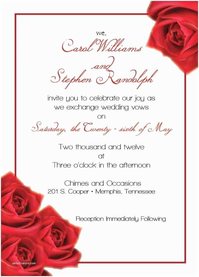 Red Wedding Invitation Templates Wedding Invitation Templates Red Rose Wedding Invitations