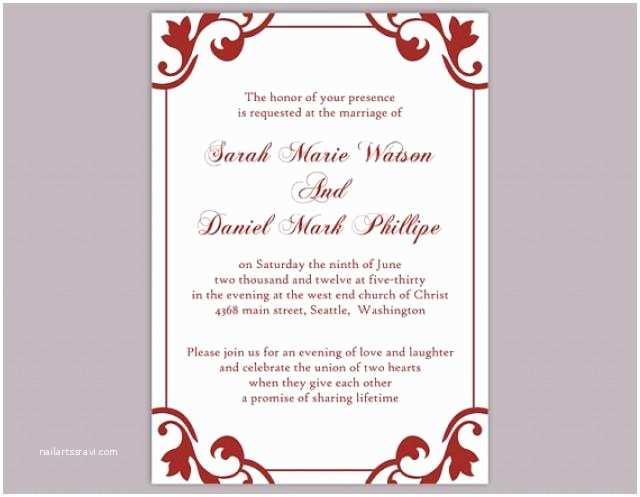 Red Wedding Invitations Blank Red Wedding Invitation Templates