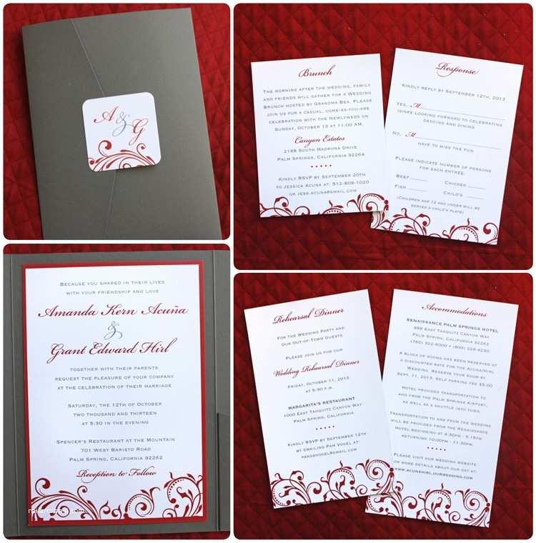 Red Wedding Invitations Gray & Red Vintage Swirls & Scrolls Pocketfolds Emdotzee