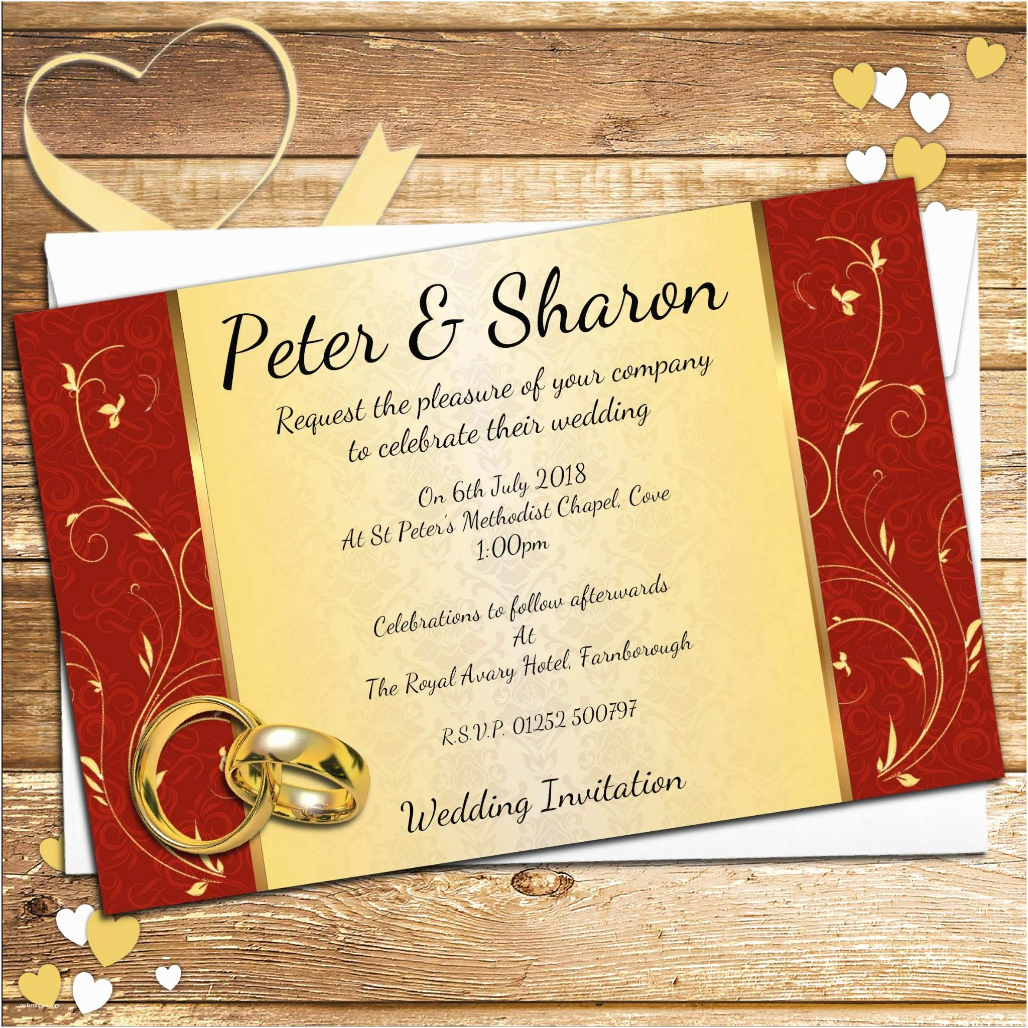 Red White and Gold Wedding Invitations 10 Personalised Elegant Red & Gold Swirl Wedding