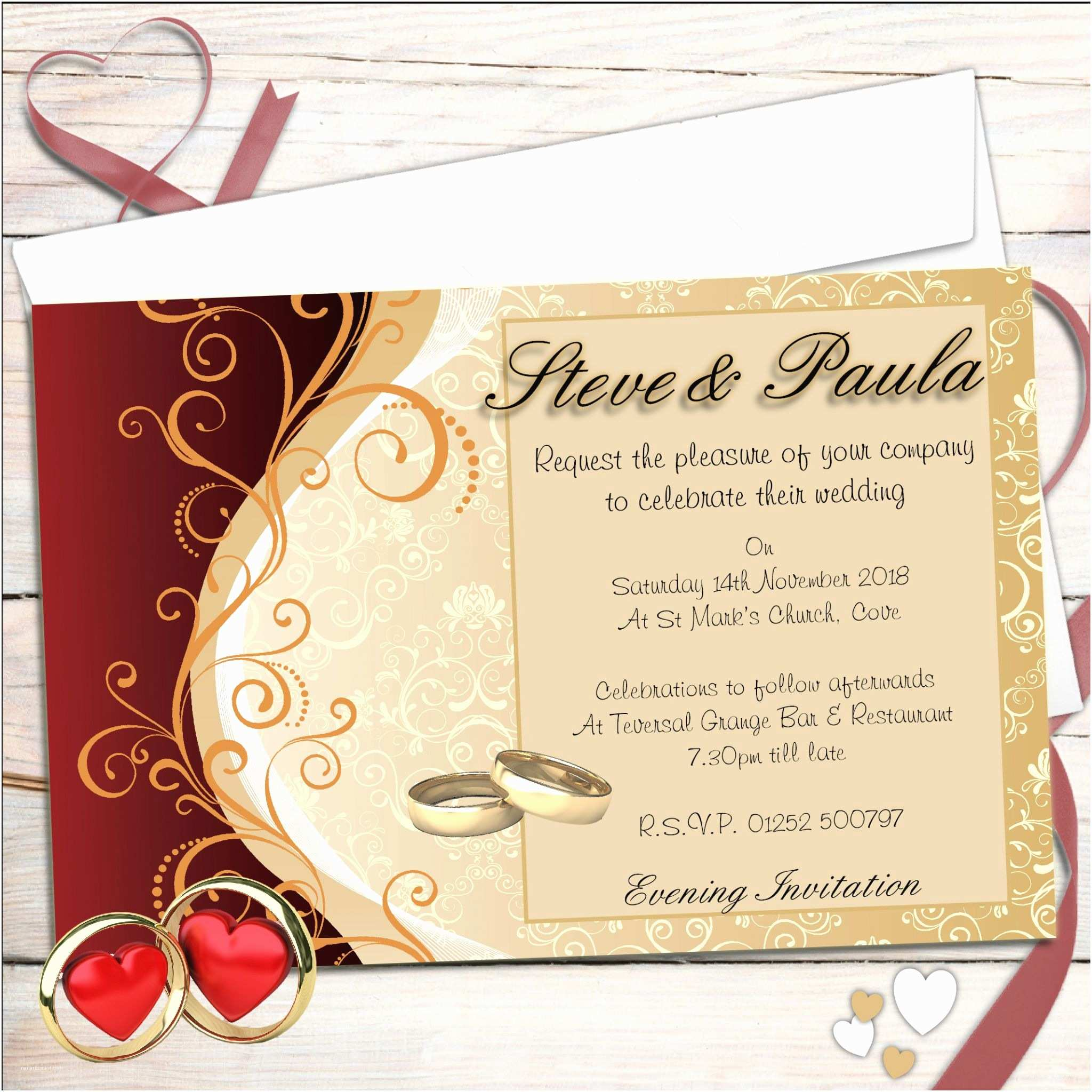 Red White and Gold Wedding Invitations 10 Personalised Red & Gold Wedding Invitations Day evening N33