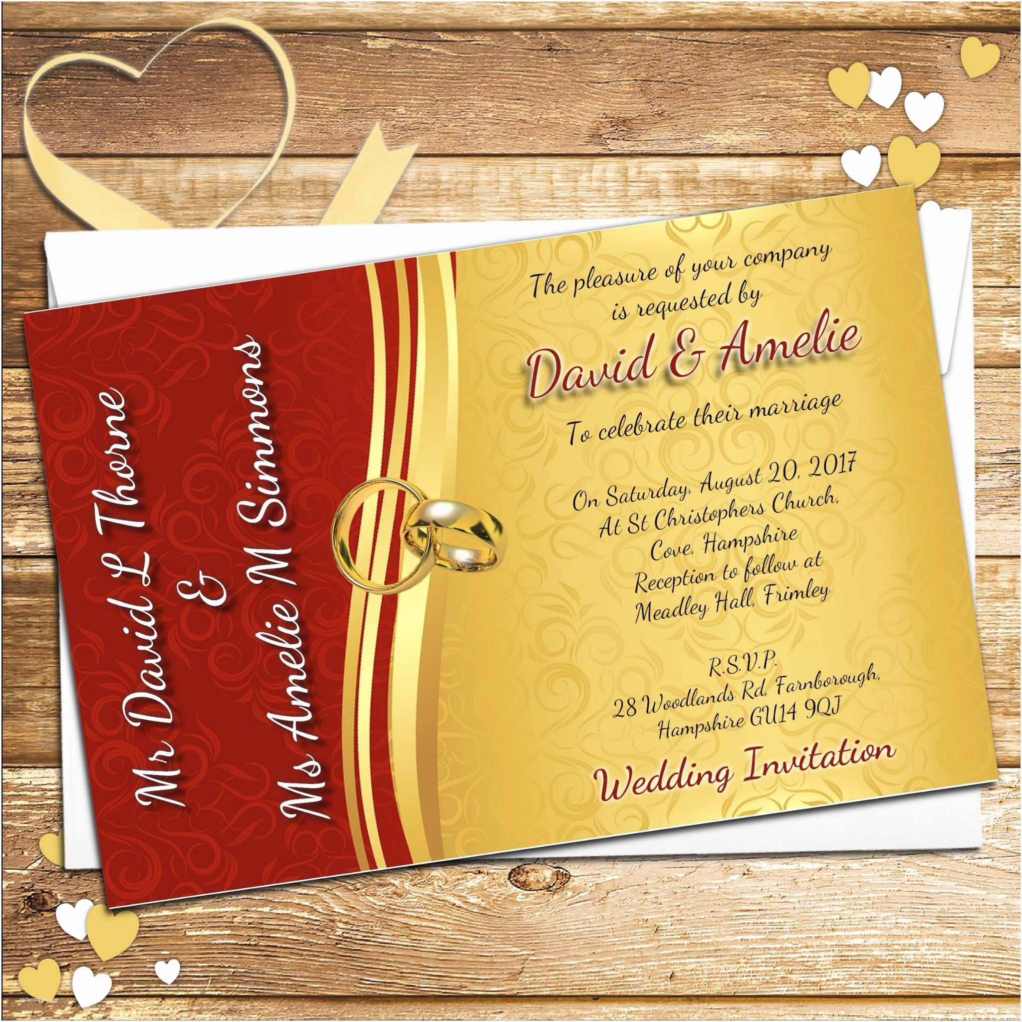 Red White and Gold Wedding Invitations 10 Personalised Red & Gold Wedding Invitations Day evening N66