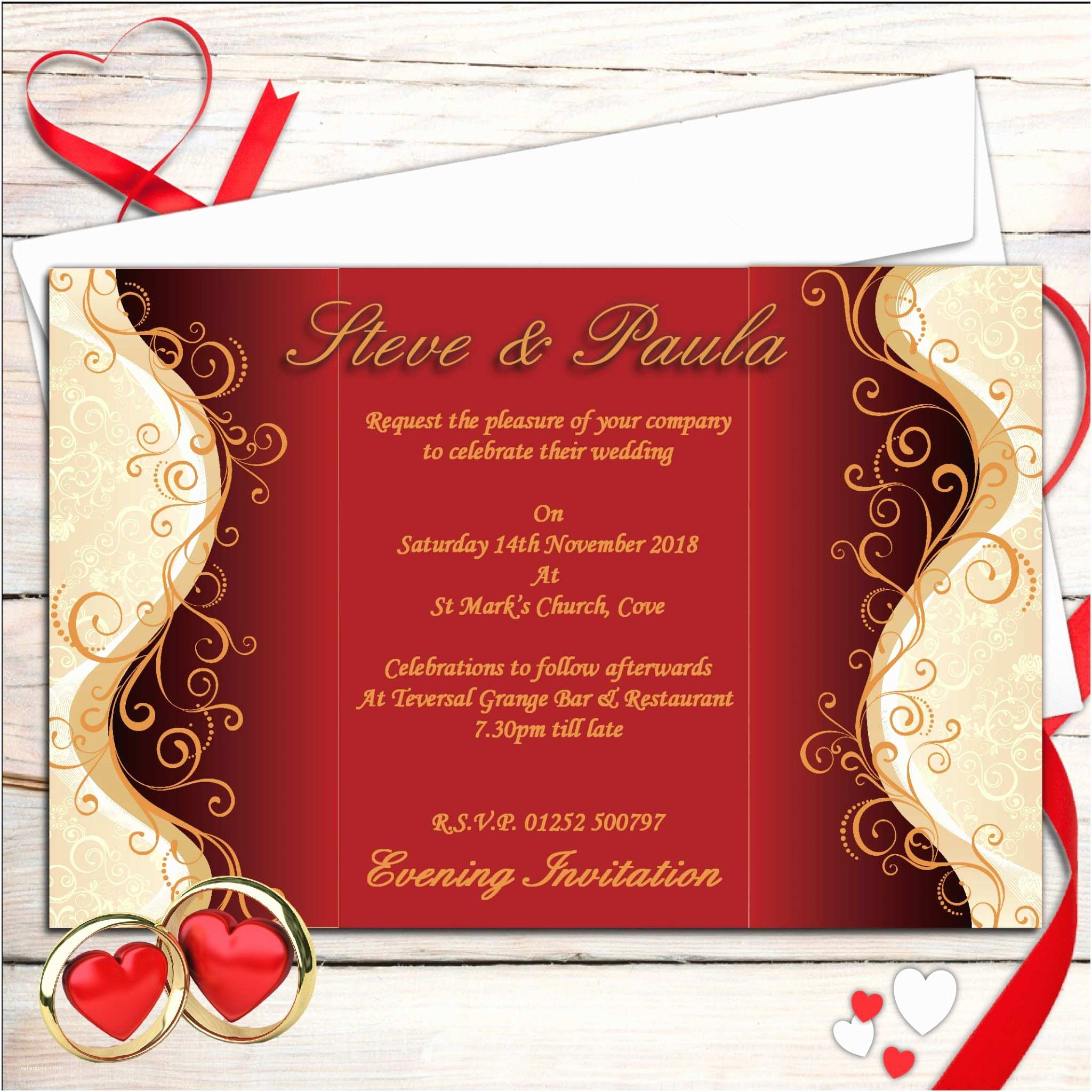 Red White and Gold Wedding Invitations 10 Personalised Red & Gold Wedding Invitations Day evening