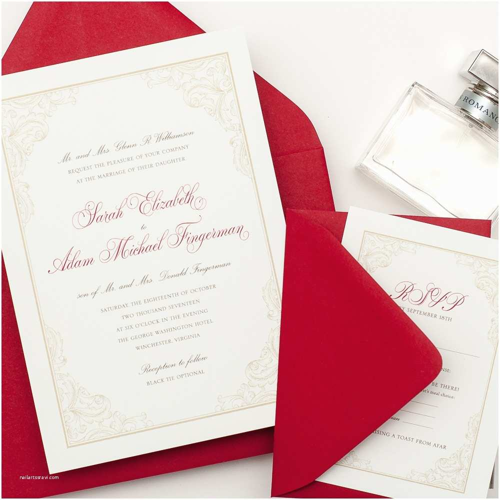 Red White and Gold Wedding Invitations 8 Best Of Elegant Gold Border Designs Wedding