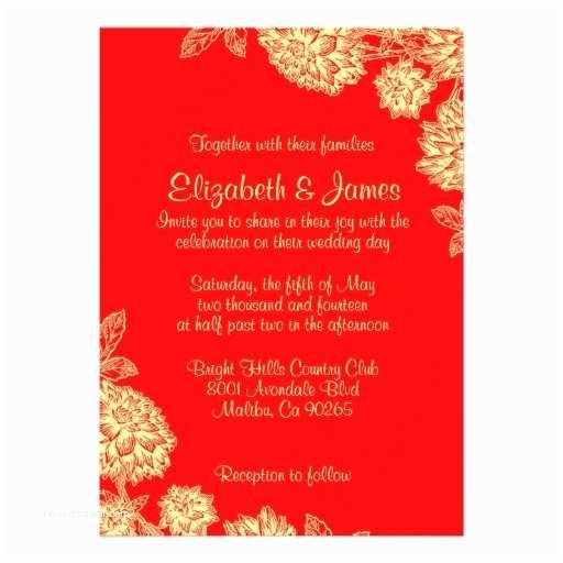 Red White and Gold Wedding Invitations Elegant Red and Gold Wedding Invitations Custom