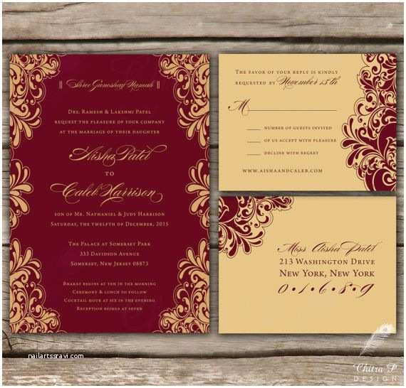 Red White and Gold Wedding Invitations Indian Wedding Invitations & Rsvp Printed or Digital