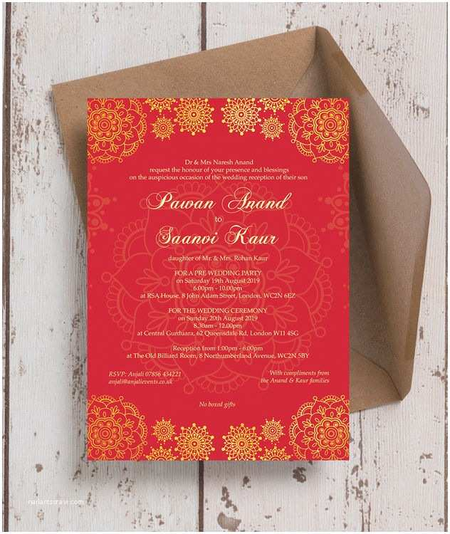 Red White and Gold Wedding Invitations Red & Gold Indian asian Wedding Invitation From £0 90 Each