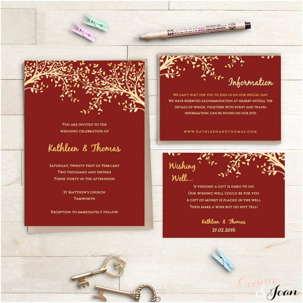 Red White and Gold Wedding Invitations Red and Gold Printable Wedding Invitation Set by Connieandjoan
