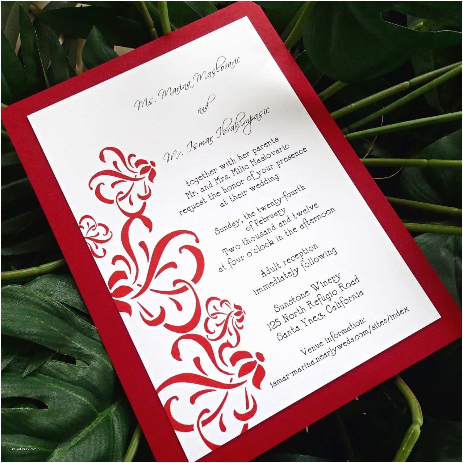 Red White and Gold Wedding Invitations Red and White Wedding Invitations Sansalvaje