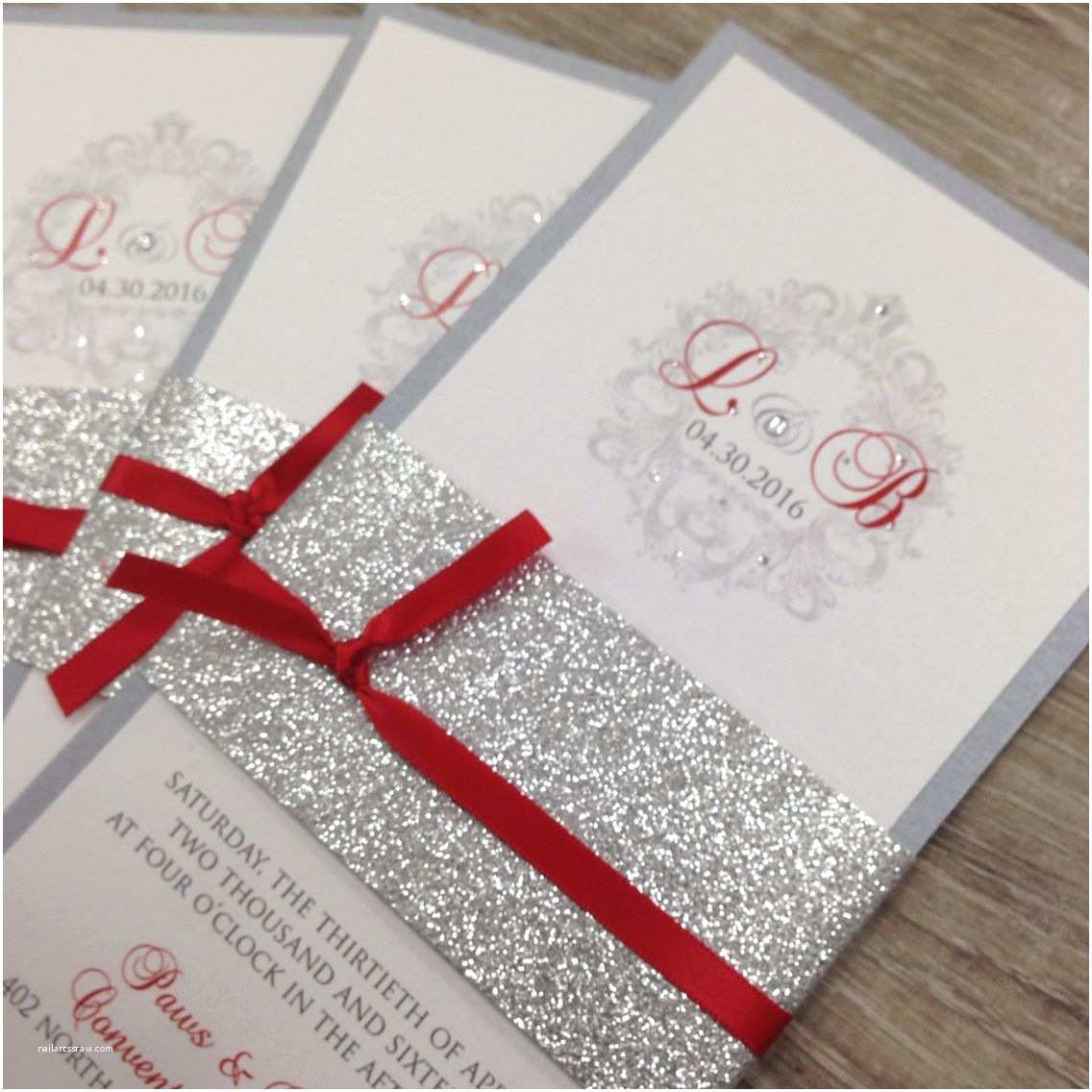 Red White and Gold Wedding Invitations Red Silver and White Glitter Wedding Invitations