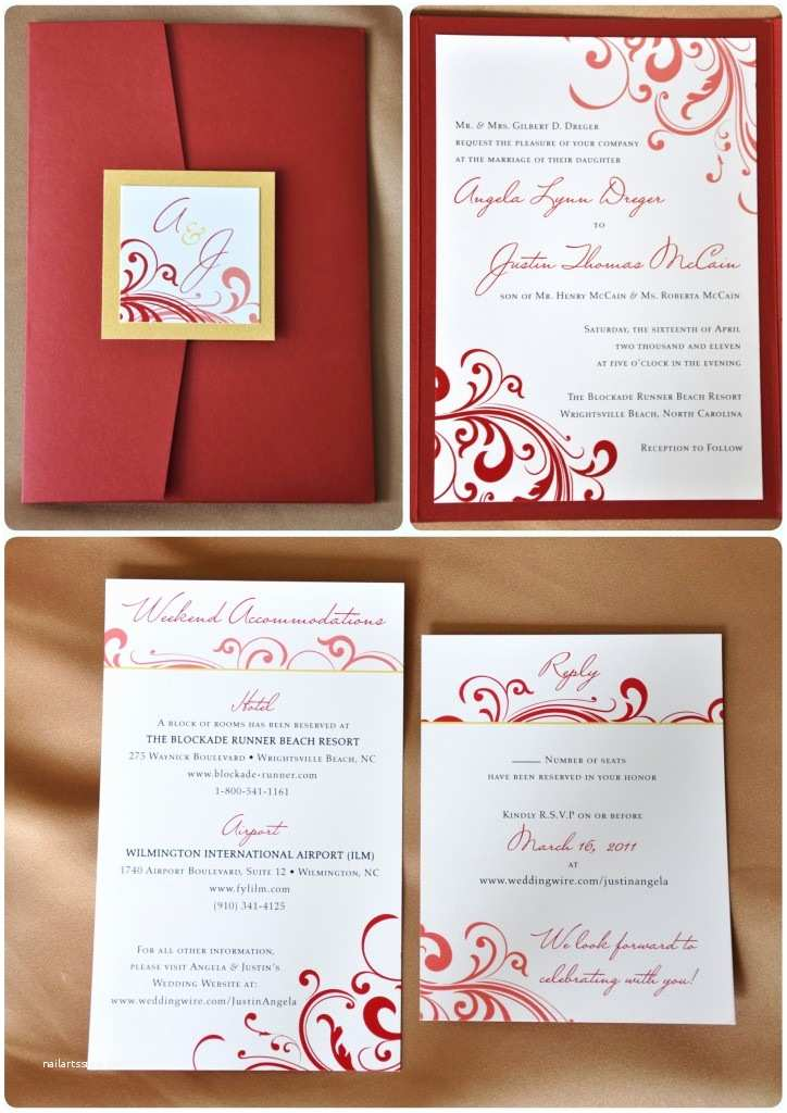 Red White and Gold Wedding Invitations Red Swirl with Gold Accents