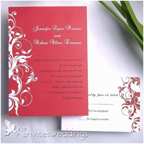 Red White and Gold Wedding Invitations Red Wedding Invitations Rectangle Potrait Red White Floral