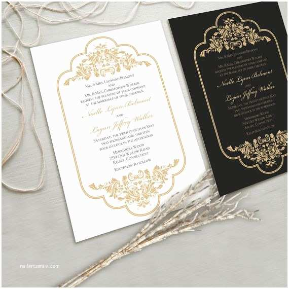 Red White and Gold Wedding Invitations Timeless and Elegant Wedding Invitation Suite White and