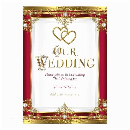 Red White and Gold Wedding Invitations Wedding Elegant Red Gold White Golden Card