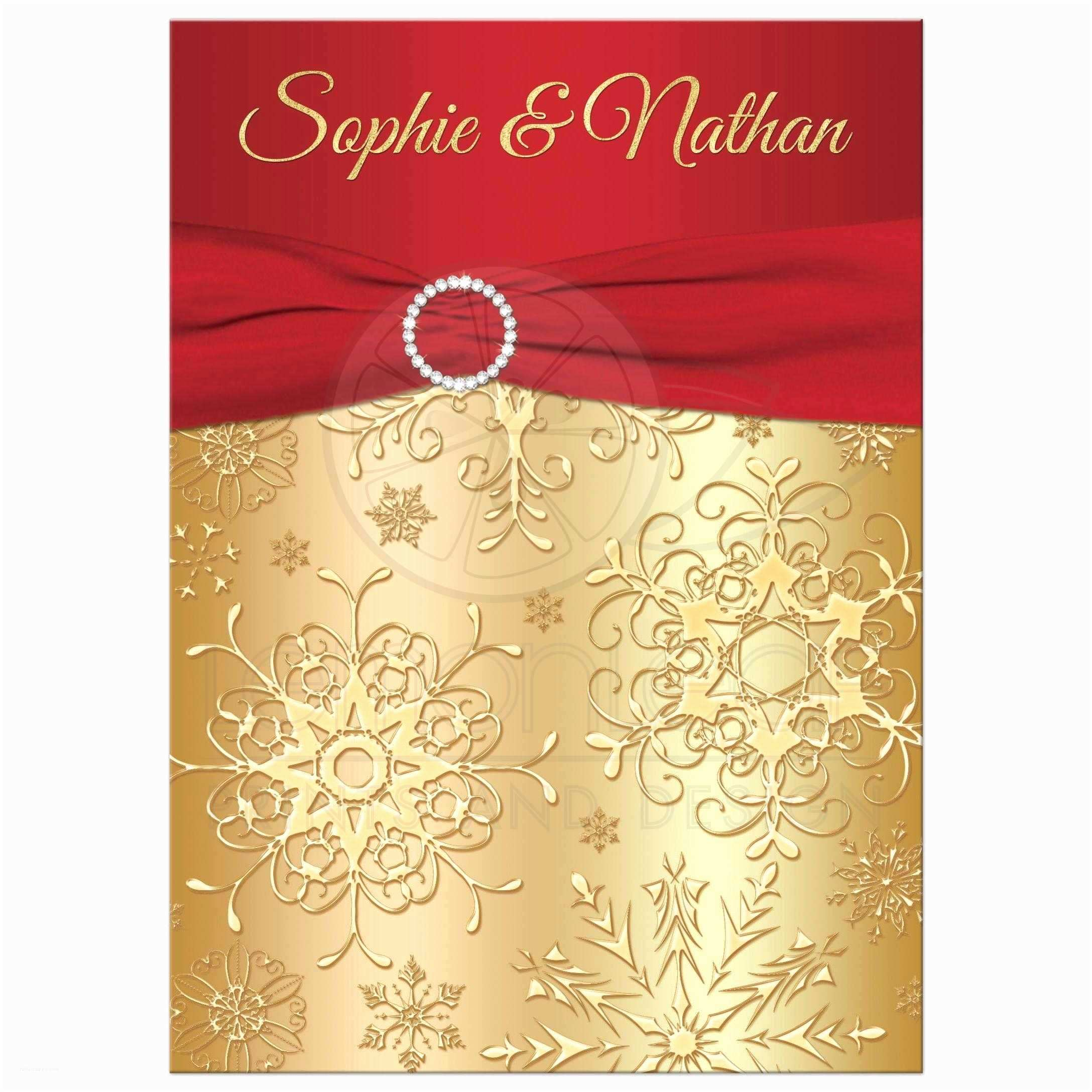 Red White and Gold Wedding Invitations Winter Wedding Invitation Red Gold Snowflakes