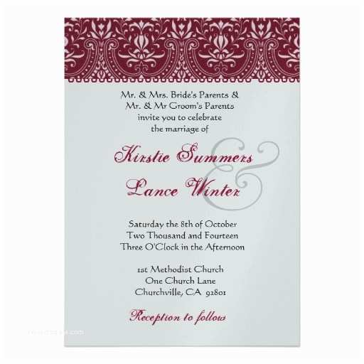 "Red White and Silver Wedding Invitations Red and Silver White Arch Damask Wedding 5"" X 7"
