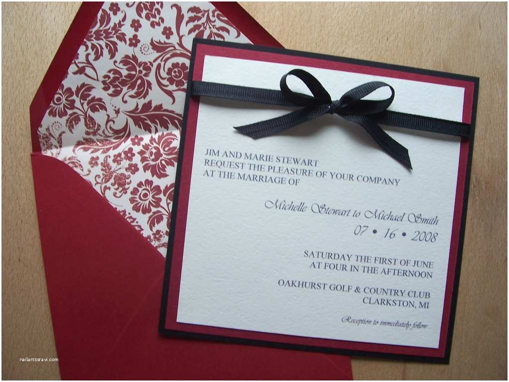 Red White and Silver Wedding Invitations Red Black White Square Wedding Invitation