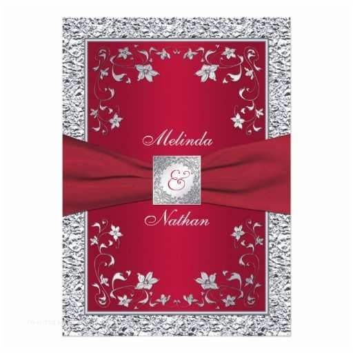 "Red White and Silver Wedding Invitations Red Silver Faux Foil Monogram Wedding Invitation 5"" X 7"
