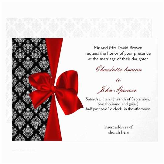 Red White and Silver Wedding Invitations Red Silver Wedding Invitation