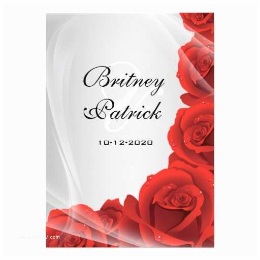 "Red White and Silver Wedding Invitations Silver & Red Rose Wedding Invitations 5"" X 7"" Invitation"