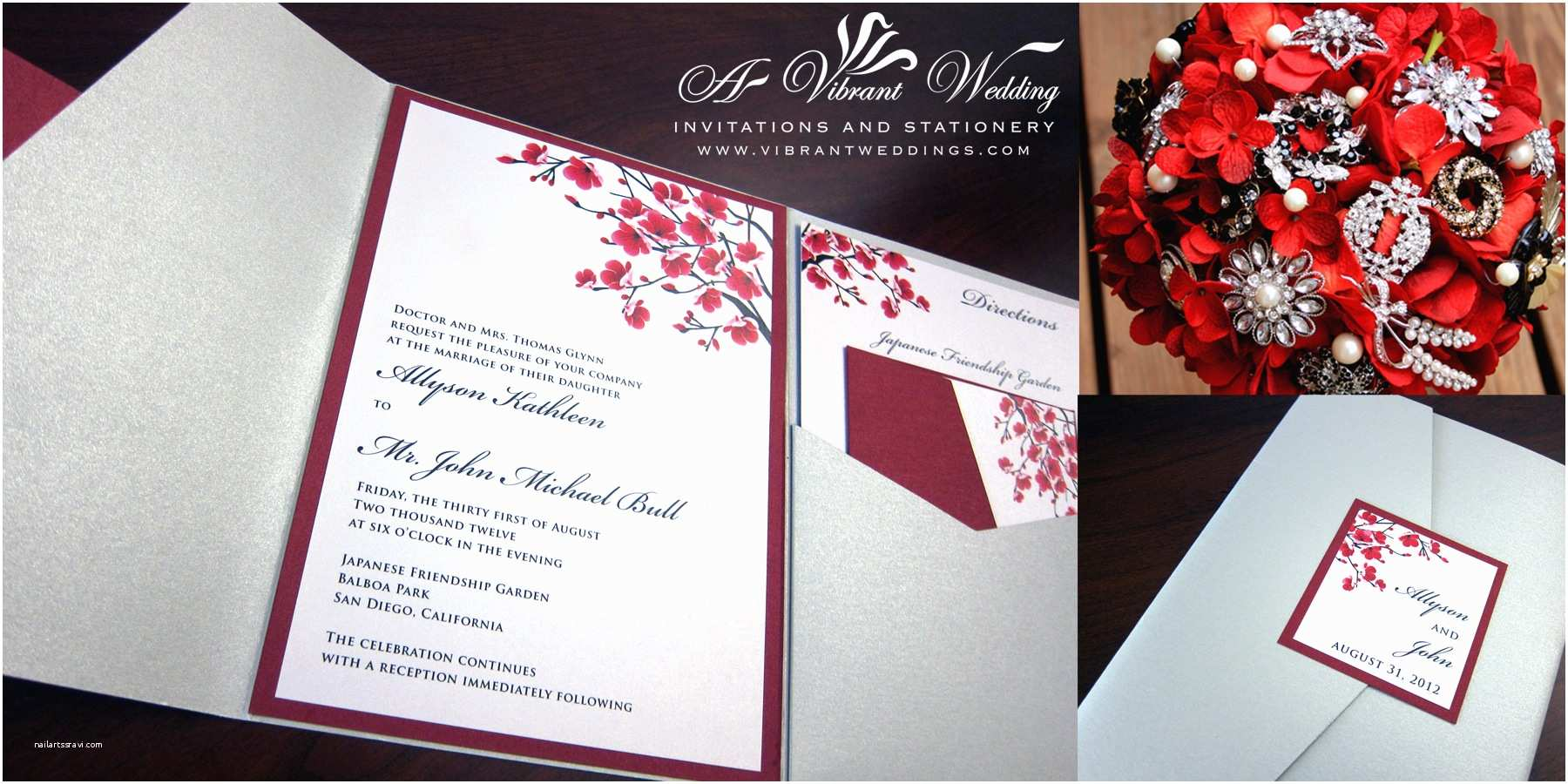 Red White and Silver Wedding Invitations Silver and Red Wedding Invitation
