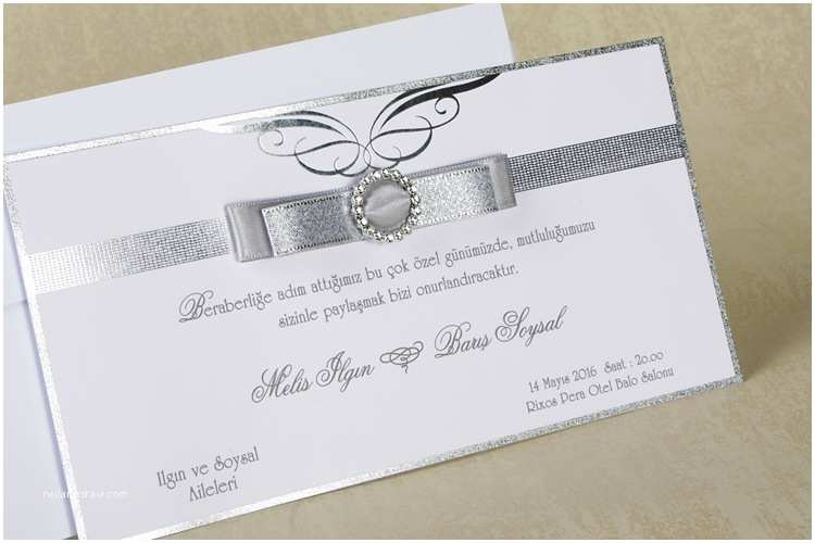 Red White and Silver Wedding Invitations Silver Wedding Invitations Rectangle Landscape Luxurious
