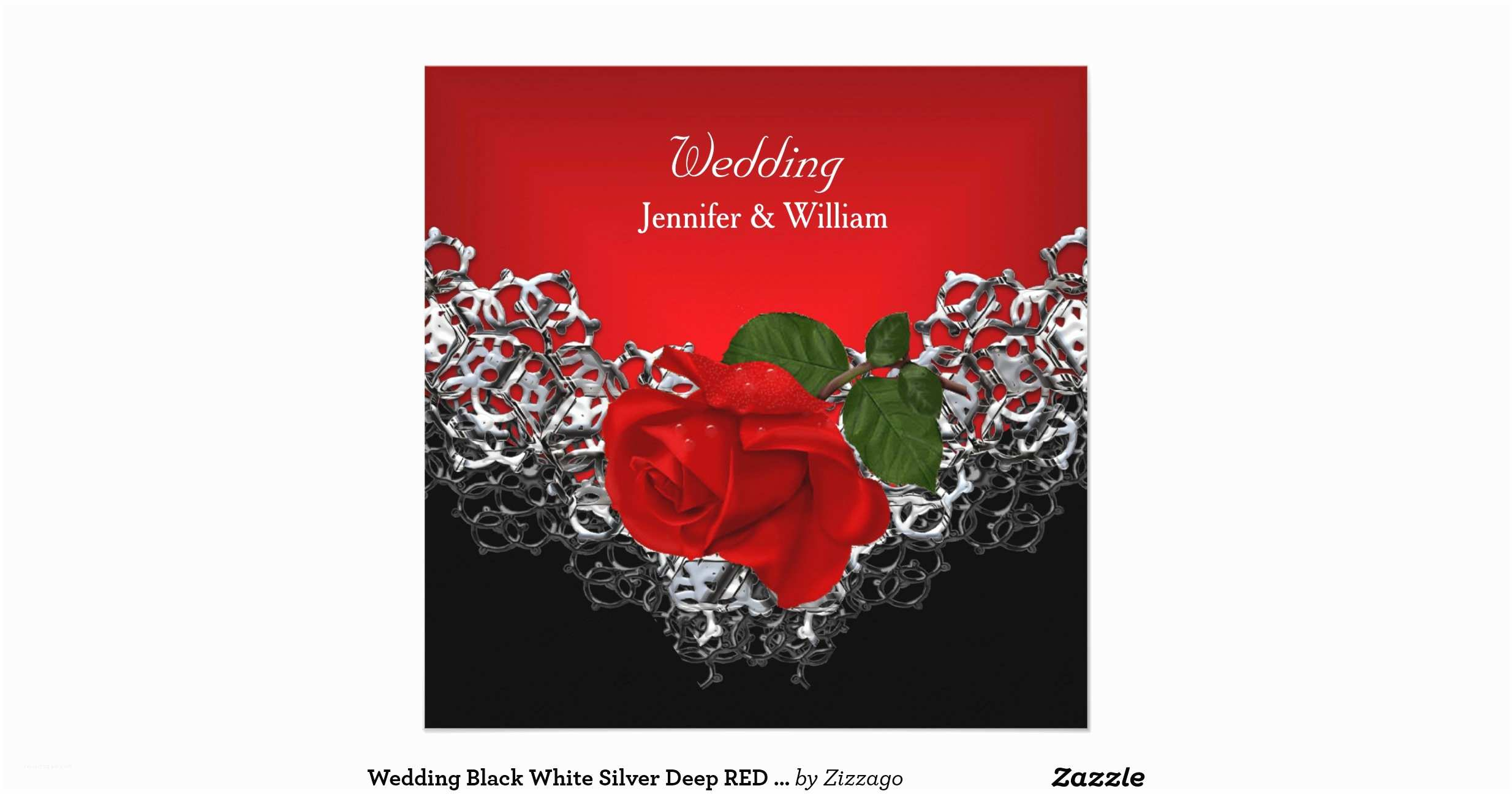 Red White and Silver Wedding Invitations Wedding Black White Silver Deep Red Rose Invitation