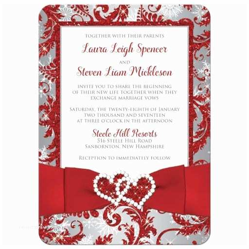 Red White and Silver Wedding Invitations Wedding Invitation Photo Optional