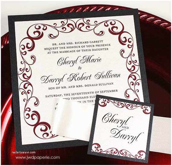 Red White and Silver Wedding Invitations Wedding Invitation Silver Black Wine Red Wedding by