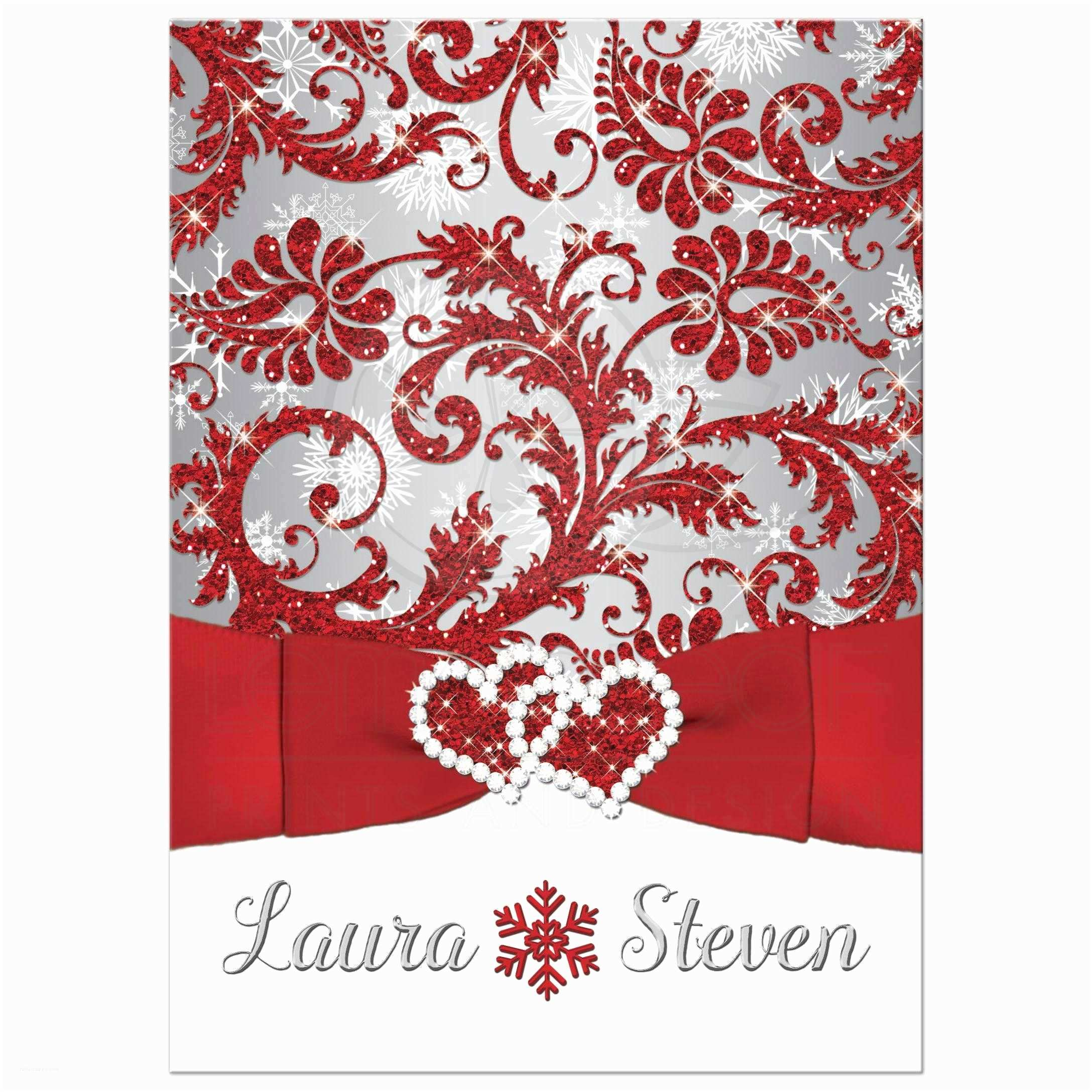 Red White and Silver Wedding Invitations Wedding Invitation Winter Wonderland