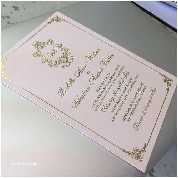 Regency Wedding Invitations Blush and Gold Wedding Invitation Regency by Bellamariepapers