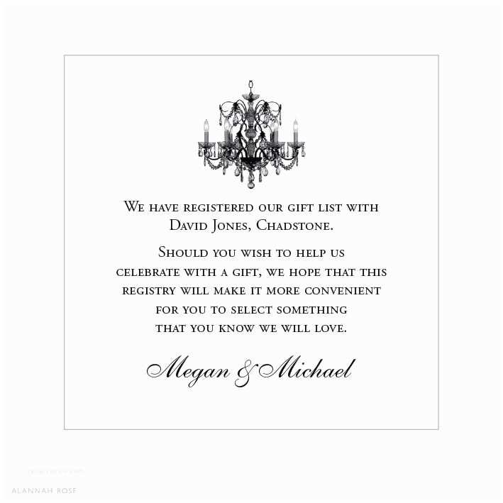 Registry On Wedding Invitation Alannah Rose Wedding Invitations Stationery