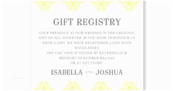 Registry On Wedding Invitation Honeymoon Registry Wording