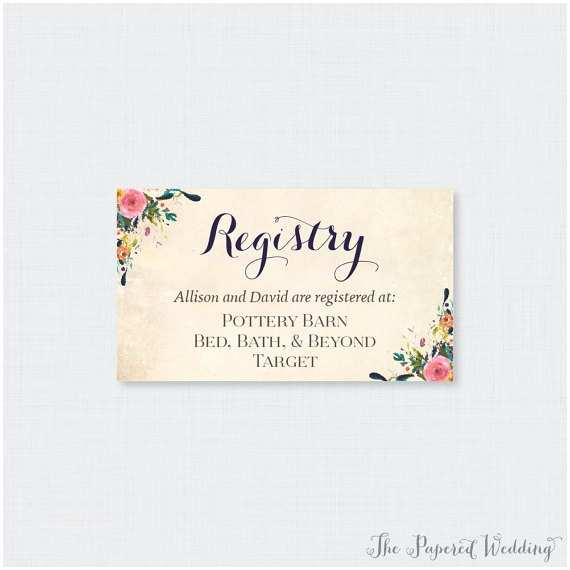 Registry On Wedding Invitation Printable or Printed Wedding Registry Cards Floral Wedding