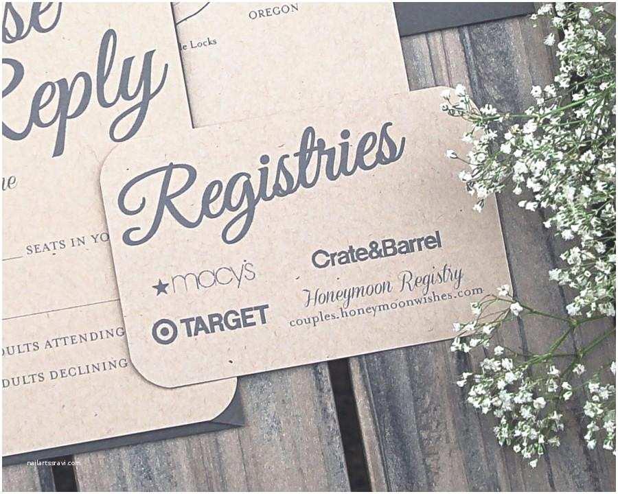 Registry On Wedding Invitation Set Rustic Paper Bag and Gray Elegant Modern Wedding