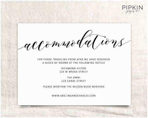 Registry On Wedding Invitation Wedding Ac Modations Template
