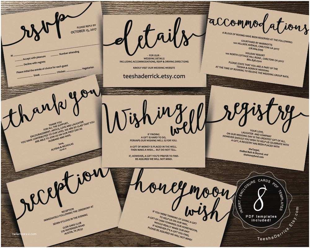 Registry On Wedding Invitation Wedding Insert Cards Pdf Template Instant