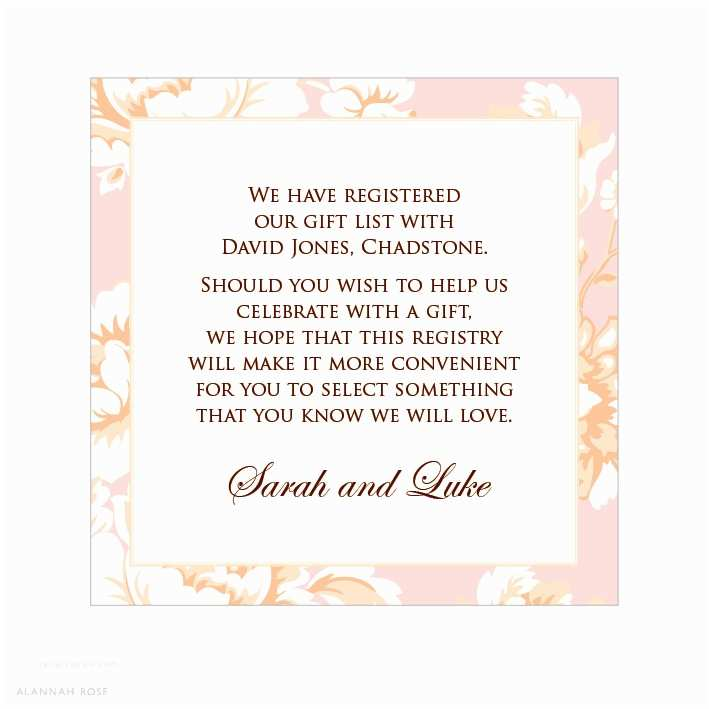 Registry On Wedding Invitation Wedding Invite Gift Wording