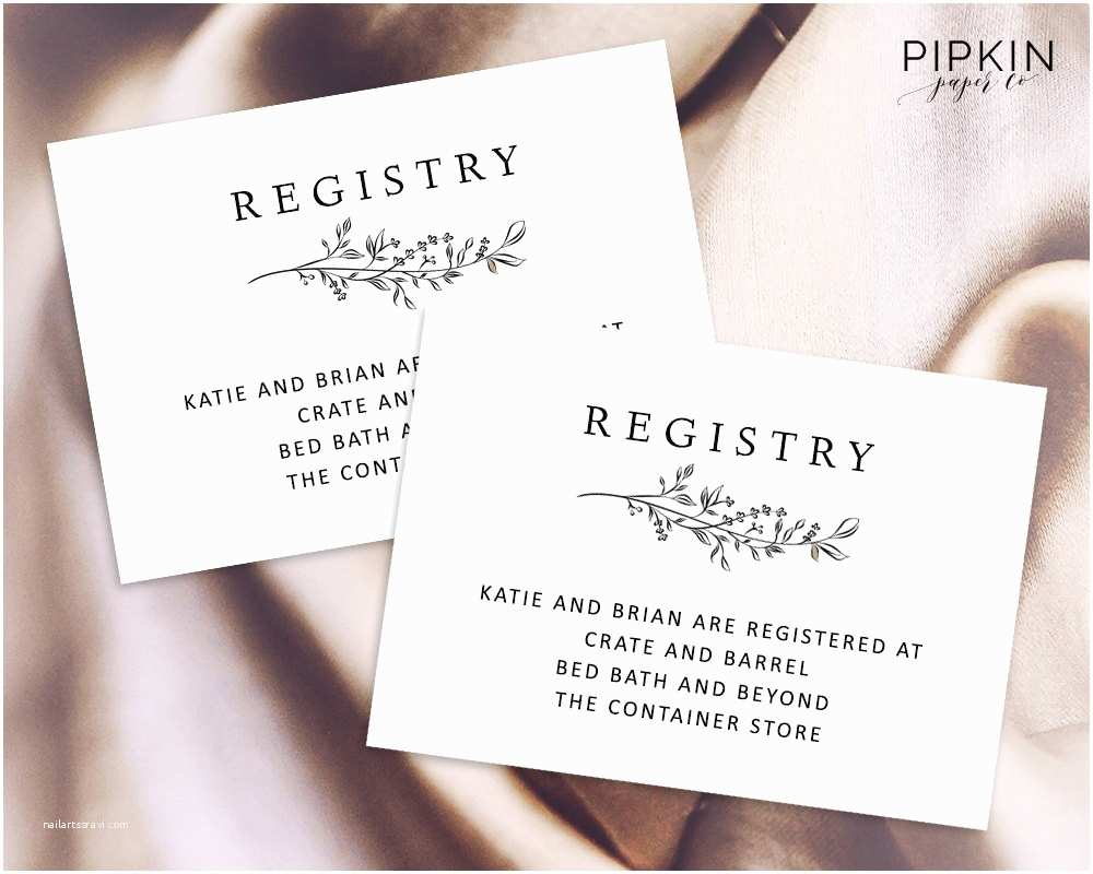 Registry On Wedding Invitation Wedding Registry Card Enclosure Card Template Baby Shower