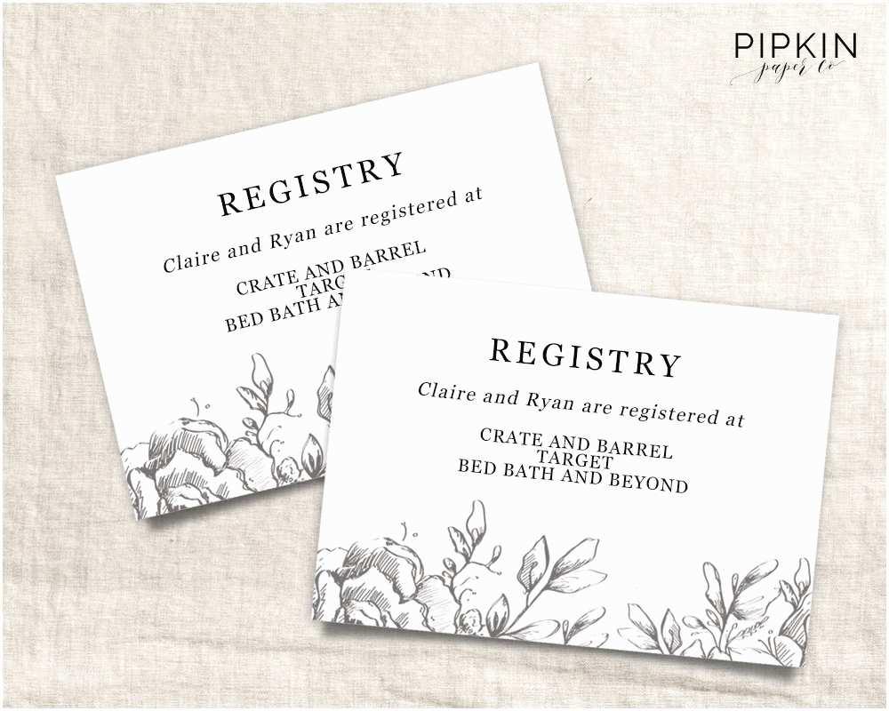 Registry On Wedding Invitation Wedding Registry Card Wedding Info Card Download Registry