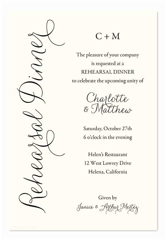 Rehearsal Dinner Invitation Wording Everyday Charm Rehearsal Dinner Invitations by