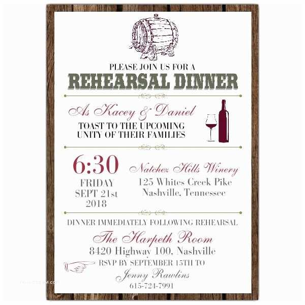 Rehearsal Dinner Invitations Wine Barrel Rehearsal Dinner Invitations