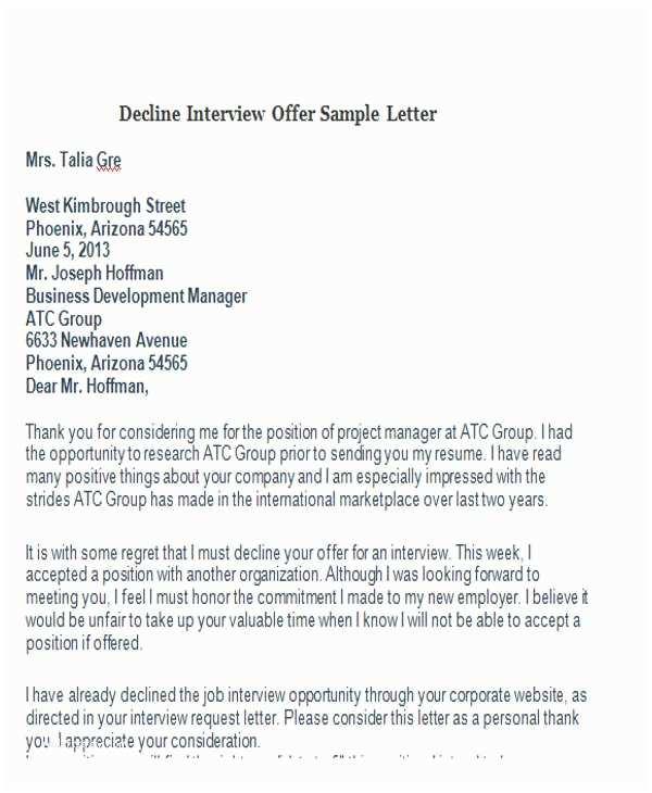 Sample Letter To Decline Invitation To Bid
