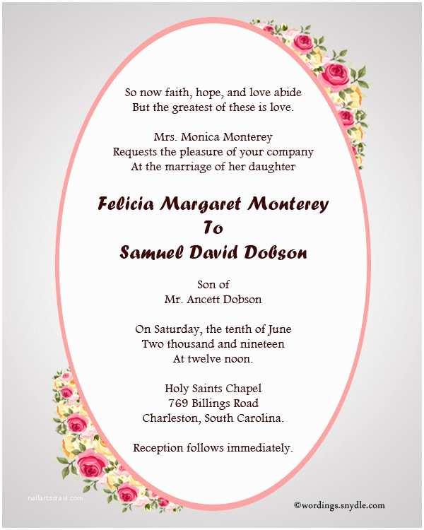 Religious Wedding Invitation Wording Christian Wedding Invitation Wording Samples Wordings