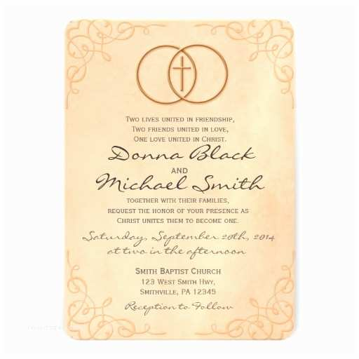 "Religious Wedding Invitation Wording Encircled Cross Religious Wedding Invitations 5"" X 7"